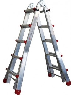 Escalera telescopica aluminio m75 3,83m-4x4 peldaños 131 de