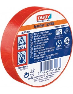 Cinta aislante 53988-20mx19mm roja de tesa-tape