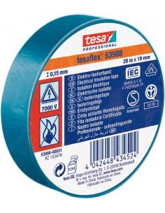 Cinta aislante 53988-20mx19mm azul de tesa-tape caja de 10
