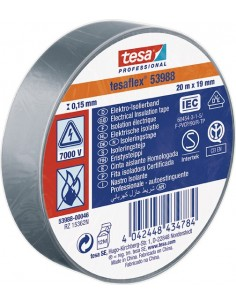 Cinta aislante 53988-20mx19mm gris de tesa-tape