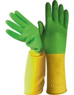Guante latex niños h264 talla 4y amarillo/verde de juba caja de