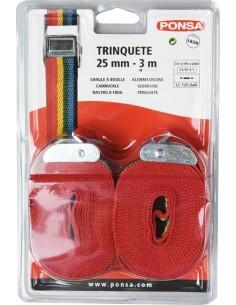 Trinquete hebilla 250kg 3m 25mm blister 2 unidades de ponsa