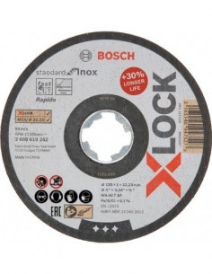 Disco x-lock standard inox 125x1x22,23mm de bosch construccion