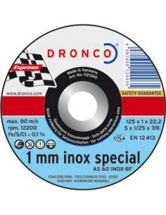 Disco dronco as60inoxidable 115x1,0x22,2 corte metal de dronco