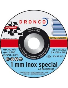 Disco dronco as60tinoxidable 125x1,0x22,2 corte metal de dronco
