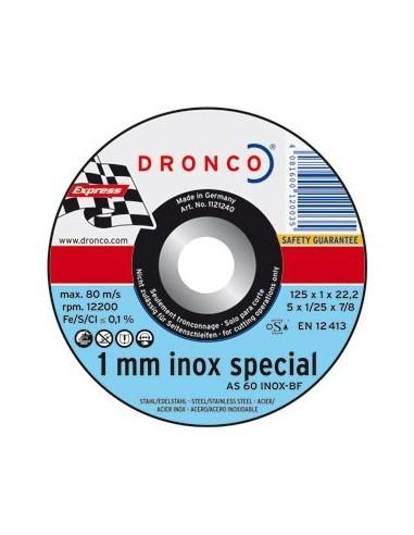 Disco dronco as60tinoxidable 125x1,0x22,2 corte metal de dronco