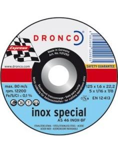 Disco dronco as46inoxidable 115x1,6x22,2 corte metal de dronco