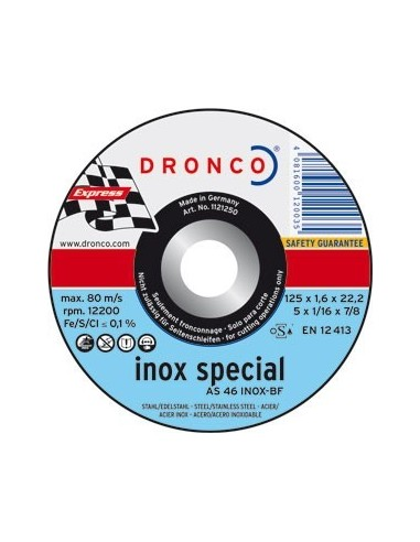 Disco dronco as46inoxidable 115x1,6x22,2 corte metal de dronco