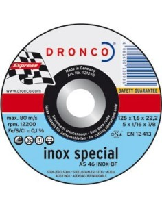 Disco dronco as46inoxidable 125x1,6x22,2 corte metal de dronco
