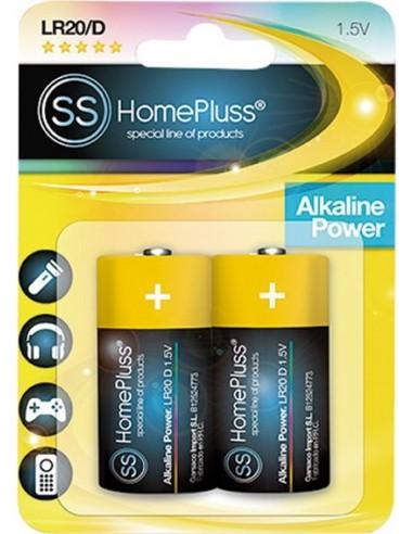 Pila alkalina homepluss lr20 (d) bl(2) de marca caja de 6