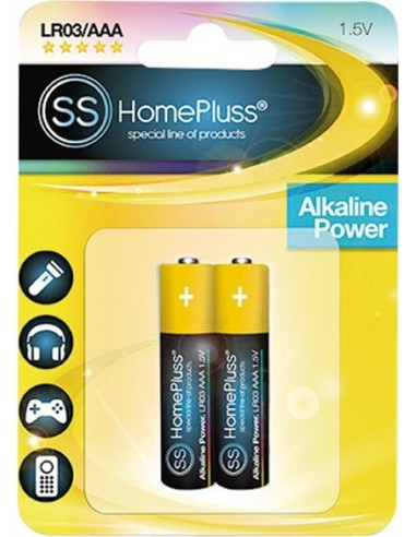 Pila alkalina homepluss lr03(aaa) bl(2) de marca caja de 10