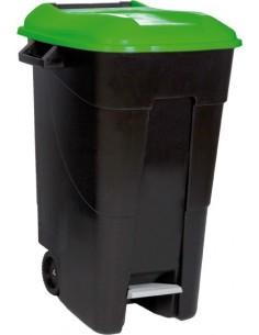 Contenedor negro pedal 423031 120l tapa verde de tayg