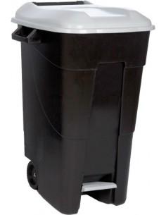 Contenedor negro pedal 423000 120l tapa gris de tayg