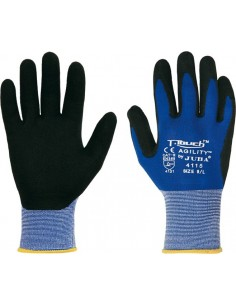 Guante nylon/nitrilo pu h4115 t-07 azul/negro de juba caja de