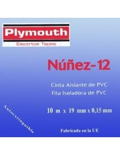 Cinta aislante pvc 5076-10mx19mm gris de plymouth caja de 10