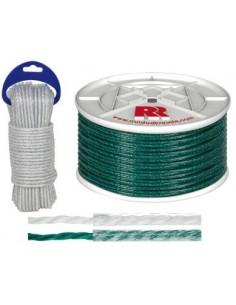 Bobina cuerda plastica forrada 05mm/015mt verde de rombull