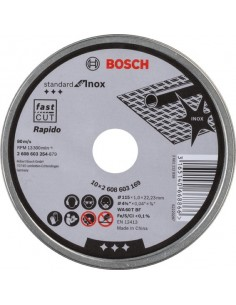 Disco abrasivo 115x1,0x22,23mm inoxidable lata10 de bosch