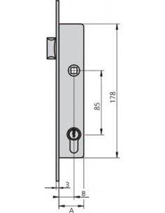 Cerradura embutir 1984t-25/6 acero inoxidable de cvl