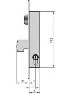 Cerradura embutir 1990v-20/6 acero inoxidable de cvl