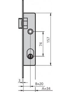 Cerradura embutir 1964t/6 acero inoxidable de cvl