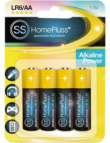 Pila alkalina homepluss lr06 (aa) bl(4) de marca caja de 10