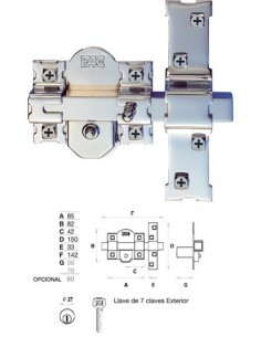 Cerrojo 01194 201-r/80 a.c.50mm niquel/dorado de fac