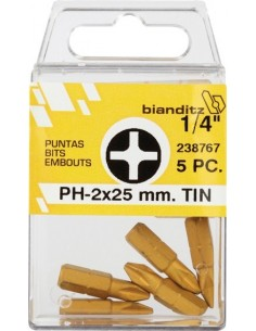 "Blister 05 puntas destornillador 238768 ph3x25 1/4"" tin de"