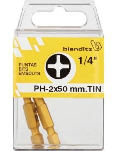 """Blister 02 puntas destornillador 239768 ph3x50 1/4"""" tin de"""