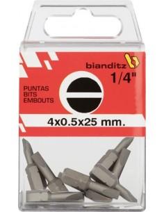 Blister 10 puntas destornillador 238802-4,0x0,5x25 1/4 de