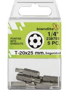 "Blister 05 puntas destornillador 238759 t40x25 1/4"" inv de"