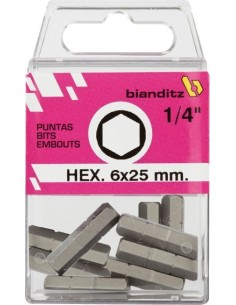 "Blister 10 puntas destornillador 238846 h-6,0x25 1/4"" de"