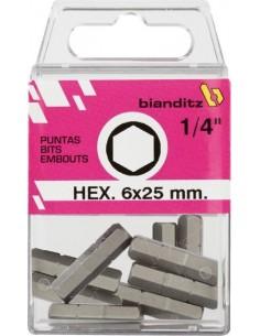 """Blister 10 puntas destornillador 238849 h-10x25 1/4"""" de bianditz"""