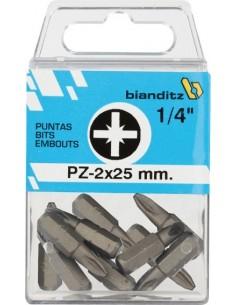"""Blister 10 puntas destornillador 238832pz-2x25 1/4"""" de bianditz"""