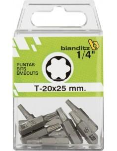 """Blister 10 puntas destornillador 238815 t-20x25 1/4"""" de bianditz"""